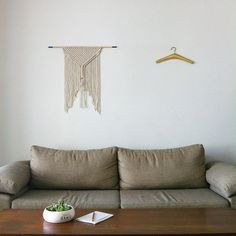 """Modern macrame wall hanging """"no.2"""". Natural color one of a kind, hand crafted wall art macrame."""