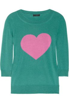 I heart this. Peacock fine-knit merino wool with pink heart intarsia!