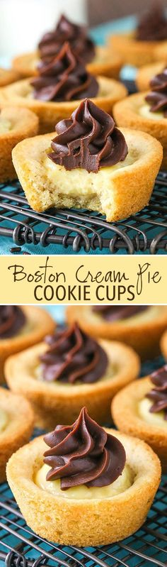 Boston Cream Pie Cookie Cups Boston Cream Pie Cookie Cups - chewy vanilla cookie filled with vanilla pastry cream and topped with chocolate ganache! by margie Mini Desserts, Cookie Desserts, Just Desserts, Cookie Recipes, Delicious Desserts, Dessert Recipes, Cookie Pie, Cookie Cups, Cookie Dough