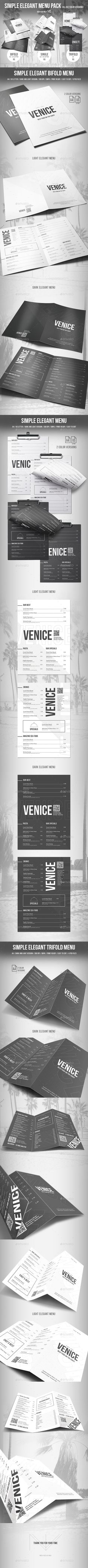 Simple Elegant Menu Pack (Bifold - Trifold - Single) - 2 Color Versions
