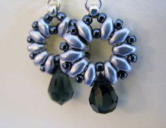 Superduo Earrings Smoky Grey and Silver Earrings Hematite