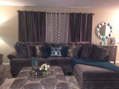 Grey and teal living room decor. – Sherrine Reed Grey and teal living room decor. Grey and teal living room decor. Teal Living Rooms, Living Room Decor Cozy, Living Room Goals, Home Living Room, Living Room Designs, Apartment Living, Bedroom Decor, Apartment Interior, Apartment Ideas