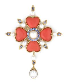 Tony Duquette (American, 1914-1999), 1990s. A coral simulant, sapphire, cultured pearl and vermeil pendant clip.