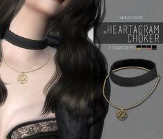 Merakisims: Heartagram choker • Sims 4 Downloads