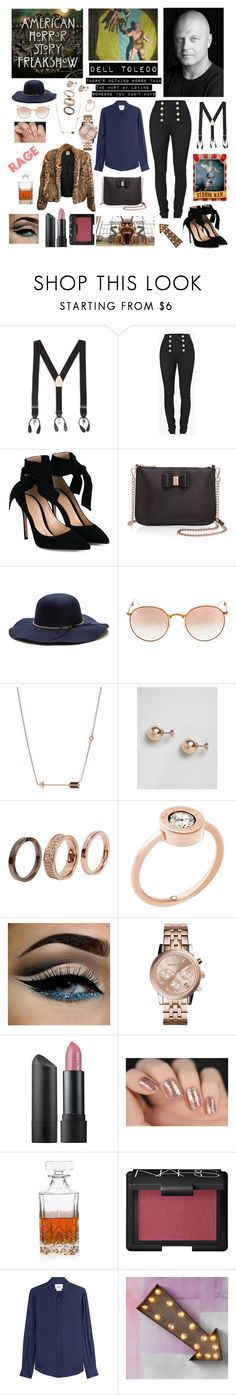 """""""AHS Collection: Dell Toledo"""" by nikkimarienightmare ❤ liked on Polyvore featuring Harrods, Balmain, Gianvito Rossi, Ted Baker, Ray-Ban, FOSSIL, ASOS, Emporio Armani, Michael Kors and Bite"""