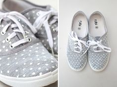A great gift for the teen or tween in your life (and you can make a pair for yourself while you're at it :) -- DIY polka dot shoes