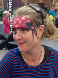 """You're never too """"young"""" for face painting! Lady pirate-chick in the school holidays at Palm Beach Plaza shopping centre. Pirate Face, Lady Pirate, Pirate Woman, School Holidays, Palm Beach, Pirates, Centre, Hair Styles, Makeup"""