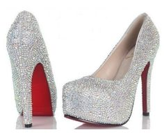 'Sparkler' BOUTIQUE Ladies Handmade Diamante Crystal Platform Leather Shoes with Red Sole