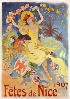 Poster Nice Celebrations 1907 Jules Cheret - www. Vintage French Posters, Vintage Travel Posters, Vintage Art, French Vintage, Belle Epoque, Jules Cheret, Art Français, Nice France, Kunst Poster