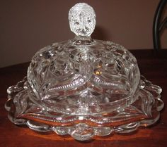 EAPG Bryce, Higbee 1898-1906 Arched Fleur-de-Lis Lid Dome Butter Dish $181.99