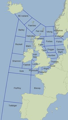 Map showing Shipping Forecast areas issued by Met Office Ireland Map, Ireland Travel, Map Of Great Britain, Boat Navigation, Shipping Forecast, London Map, Historical Maps, Old Maps, Armada