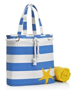 Blue Wide Stripe with Starfish Canvas Summer Tote