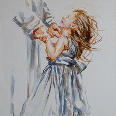 M19006 Leading Love Original Artwork, Original Paintings, Art Paintings, Watercolor Portraits, Pigment Ink, Beautiful Artwork, Canvas Art Prints, Cotton Canvas, Fine Art
