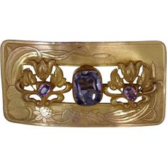 Art Nouveau Gilt Brass and Faceted Amethyst Glass Sash Pin