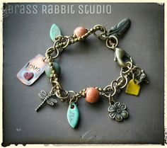 Handmade artisan charm bracelet, mixed media, earthy ~This and That~, nature bracelet, wire wrapped, ceramic, brass