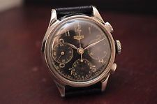 Vintage men's Heuer chronograph Valjoux 71 tricompax brack dial all s.steel