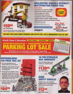 Hazard fraught tools harbor freight tools parody garage thank you to whomever had the time to put this harbor freight spoof catalog together hazard fraught tools disorganized and understaffed parking lot sale sciox Gallery