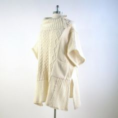 3X/ Free Size Upcycled Wool Knit Poncho/ by Brendaabdullah on Etsy