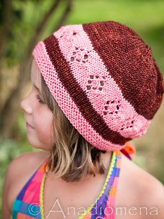 Free knitting pattern for Adult and Child In Between Seasons Hat with diamond lace pattern