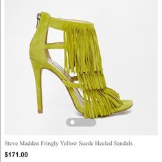 Never worn. Yellow Steve Madden Fringly Heels Size 5.5  Please see pic 4 for product info Steve Madden Shoes Heels