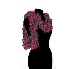 Handmade Knit Ruffle Scarf in Burgundy Purple Dark by CraftCrazy4U