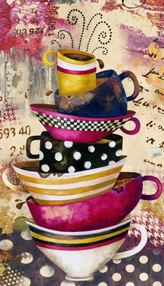 Art Print. Coffee Cups Divine. Candy Colored by studiopetite