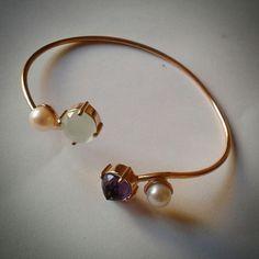 #silver #handmade #roberteskici # cuff # amatist #kalsedon # pearl
