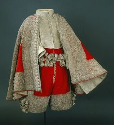 Ensemble in patterned silk brocade - c. 1650-1660