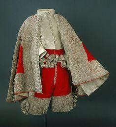 Ensemble in patterned silk brocade, c. 1650-1660.
