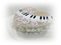 Keyboard and Roses Heart Keepsake Box Hand by CelestinaMarieDesign, $23.00