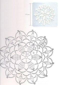 Crocheted motif no. Crochet Circles, Crochet Motifs, Crochet Diagram, Crochet Chart, Thread Crochet, Crochet Doilies, Crochet Flowers, Crochet Bedspread Pattern, Vintage Crochet Patterns