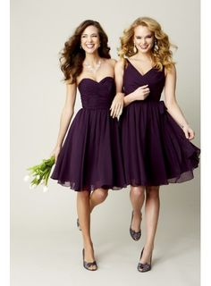 Cute Purple Chiffon Knee Length A-line Bridesmaid or Cocktail Dress - WEDDING PARTY DRESSES - Wedding Dress UK