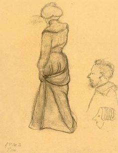 Paula Modersohn-Becker - SCHREITENDE FRAU IN RÜCKENANSICHT (STUDIENBLATT); Creation Date:Circa 1900; Medium: Charcoal on brown paper