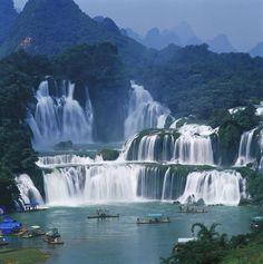 Detian transnational waterfall in Daxin county, Chongzuo, Guangxi. World's fourth largest cross-border waterfall.