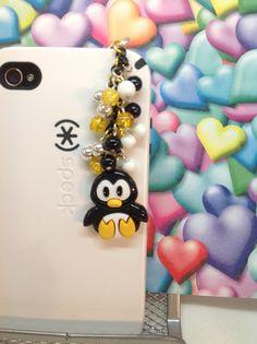 Penguin cell phone charm headphone jack charm by PmBSparklesLinks, $15.00