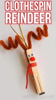 Clothespin Reindeer Christmas Ornaments - - These clothespin reindeer are SO CUTE! In less than 5 minutes you can make an adorable homemade Christmas ornament using only dollar store supplies! Kids Christmas Ornaments, Christmas Crafts For Kids To Make, Dollar Store Christmas, Xmas Crafts, Christmas Diy, Reindeer Christmas, Reindeer Ornaments, Christmas Clothespin Crafts, Christmas Decorations With Kids