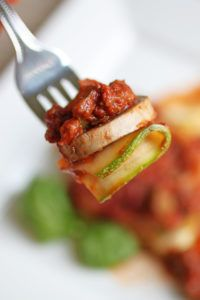 Our recipe for lasagne avoids conventional wheat-based noodles, using instead some thinly sliced zucchini. This simple substitution makes all the difference in this dish, contributing even more flavor to a favorite of many. For a primal twist, you could even add a little cheese!