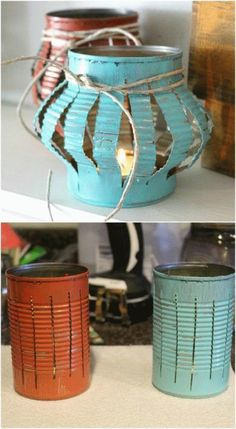 DIY Upcycled Tin Can Tea Lanterns - Yes, you can buy stunning lanterns and lamps. - Home Decor Art : DIY Upcycled Tin Can Tea Lanterns - Yes, you can buy stunning lanterns and lamps. Decor Crafts, Home Crafts, Diy And Crafts, Garden Crafts, Homemade Crafts, Garden Projects, Nature Crafts, House Projects, Upcycled Home Decor