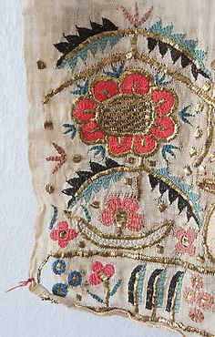 Antique Ottoman Floral Gold Metal Thread Embroidered Towel - Turkish Textile