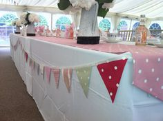 Pastel bunting used to decorate top table. Email:CliffsCushions@gmail.com Wedding Bunting, Wedding Decorations, Sewing Projects, Pastel, Table, Top, Cake, Wedding Decor, Tables