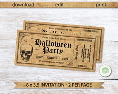 Printable Tickets, Print Your Own Invitations, Halloween Party Invitations, Ticket Invitation, Halloween Horror, Card Stock, Finding Yourself, Printables, Skull
