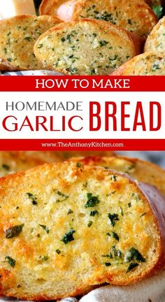 An easy homemade garlic bread recipe featuring a simple garlic bread spread made up of butter, oil, garlic, and Parmesan cheese. The ultimate guide to homemade garlic bread! - Homemade Garlic Bread - The Anthony Kitchen Garlic Butter Spread, Garlic Butter For Bread, Homemade Garlic Butter, Make Garlic Bread, Simple Garlic Bread Recipe, Garlic Bread Baguette, Healthy Garlic Bread, Best Garlic Bread Recipe, Garlic Toast Recipe