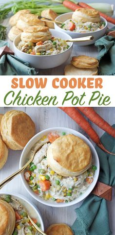 Slow Cooker Chicken Pot Pie - easy Sunday dinner and meal prep recipe. Top it off with your favorite fresh baked biscuit!