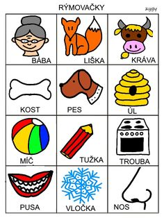 Rymovacky - pexeso Crafts For Kids, Language, Education, Learning, Games, Logos, Montessori, Trains, Speech Language Therapy