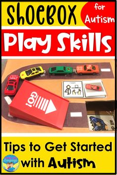 Does your student just pick up cars and line them up? Learn how to expand play skills for students with autism using a shoebox and these free tips! #resourcesforautism #speechpathology #specialeducation #speechtherapy