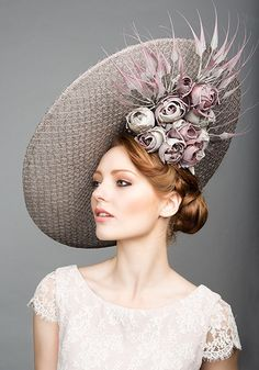 Rachel Trevor Morgan Millinery S/S 2015, R1583 Grey large mesh disc with hand made roses and dipped claws
