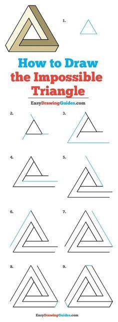 Wie man das unmögliche Dreieck zeichnet - Really Easy Drawing Tutorial - draw Easy Drawing Tutorial, Drawing Lessons, Drawing Techniques, Drawing Tips, Drawing Ideas, Drawing Drawing, Easy Drawing Patterns, How To Draw Patterns, Drawing Journal