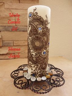 Candle Henna Perfect wedding centerpiece One of a by mehndiart09, $58.00 I know I can paint this with henna.