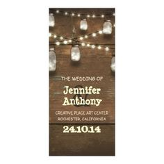Wooden lights mason jars rustic wedding programs