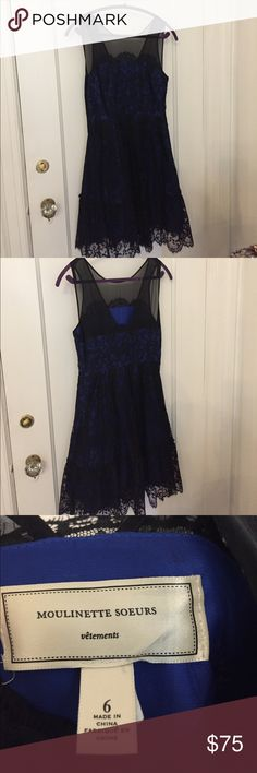 Anthropology dress moulinette soeurs Beautiful bright blue lace dress.  Perfect evening dress Moulinette Soeurs Dresses Midi